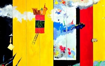Pintura com cores vivas e com amerelo e vermelho são os tons principais e um edificio negro onde duas silhuetas espreitam para o horizonte
