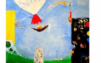 Pintura com cores vivas onde um barco castanho e vermelho paira no ar e um edificio negro onde alguém espreita para o horizonte