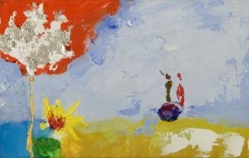 Detalhe de um quadro de Guilherme Parente onde vemos uma arvore vermelha e branca e silhuetas em dourado e vermelho